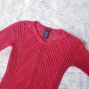 Chelsea $ Theodore Red Open Knit Sweater EUc